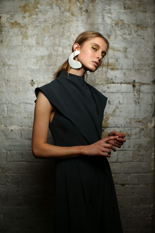 A model poses backstage ahead of the Bianca Spender show. Photo: Mark Nolan