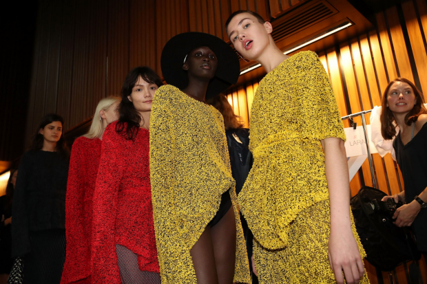 Models pose backstage ahead of the Mercedes-Benz Presents Dion Lee. Photo: Cole Bennetts