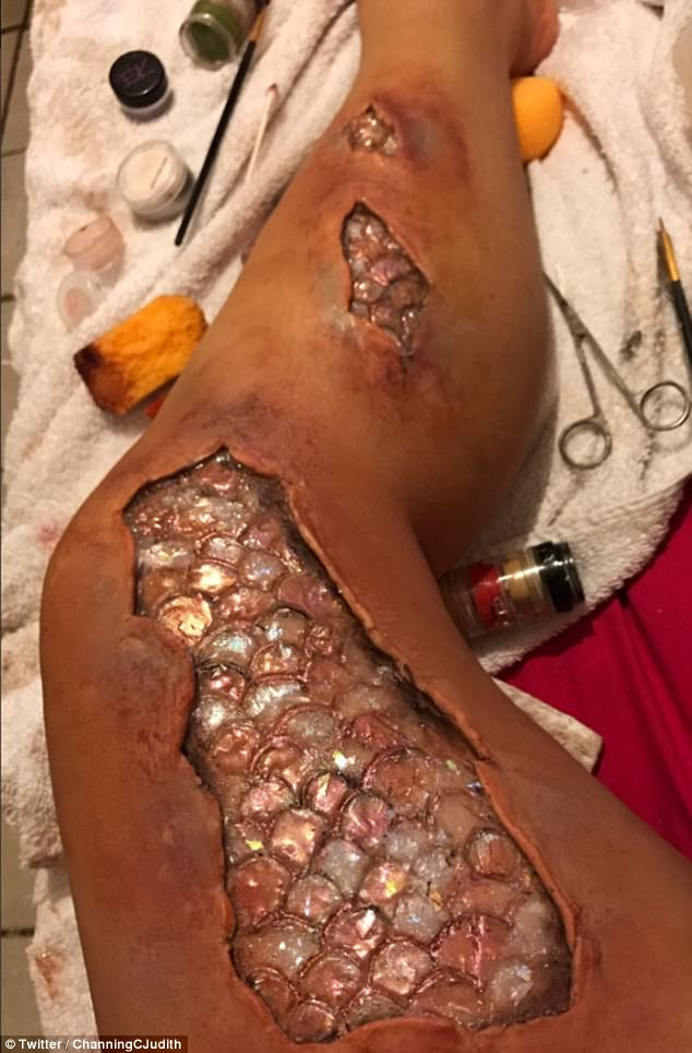 A woman has turned herself into a mermaid using special effect products and popular makeup brands - and her effort has gone viral with hundreds of thousands of people sharing it. Photo: Twitter/ChanningCJudith