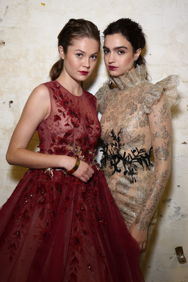 Models pose backstage ahead of the Steven Khalil show. Photo: Brendon Thorne